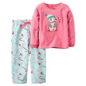 Carter's Penguin Candy cane Holiday Pajamas Size 4